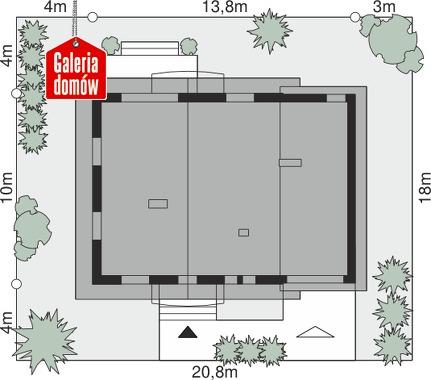 Dom przy Oliwkowej 5 H - wymiary na działce