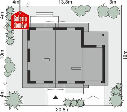 Dom przy Oliwkowej 4 - wymiary na działce