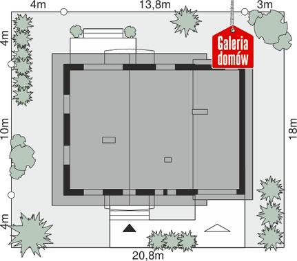 Dom przy Oliwkowej 5 - wymiary na działce