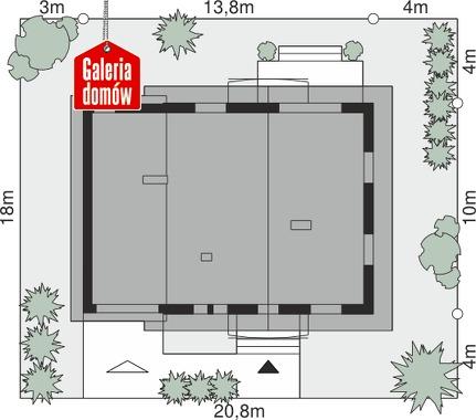 Dom przy Oliwkowej 5 NH - wymiary na działce