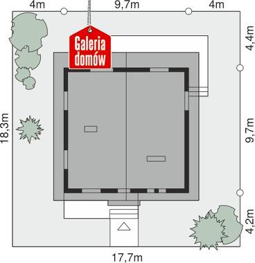 Dom przy Stokrotek - wymiary na działce