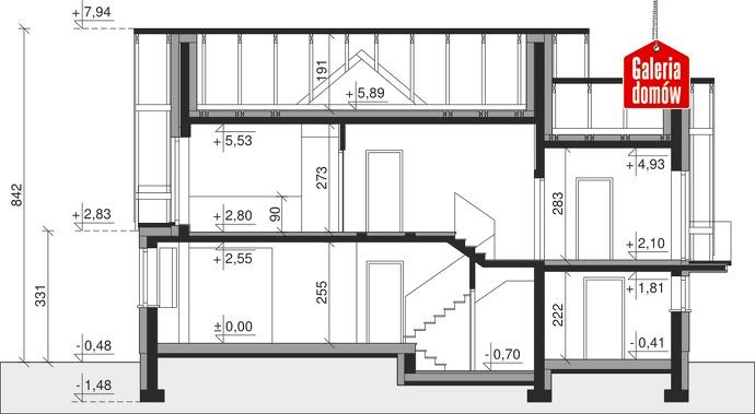 Dom przy Cyprysowej 14 D - przekrój