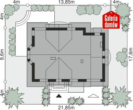 Dom przy Cyprysowej 14 D - wymiary na działce