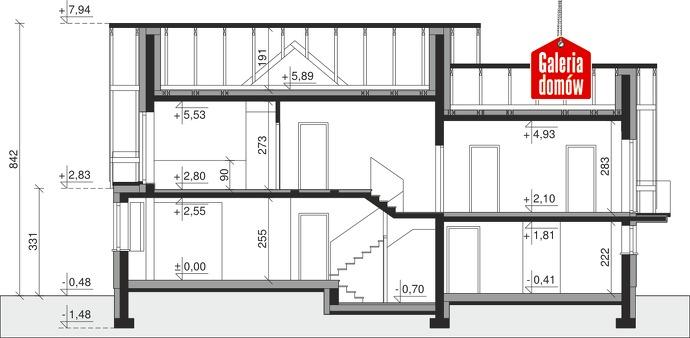 Dom przy Cyprysowej 15 D - przekrój