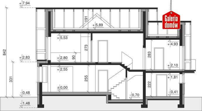 Dom przy Cyprysowej 14 DN - przekrój