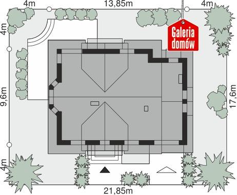Dom przy Cyprysowej 14 DN - wymiary na działce