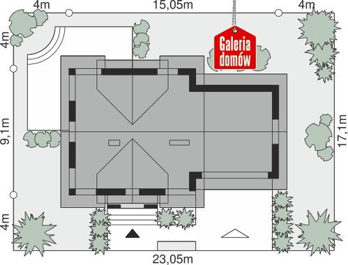 Dom przy Cyprysowej 36 D - wymiary na działce