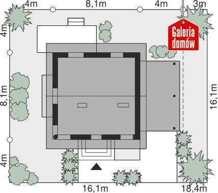 Dom przy Wiosennej 8 - wymiary na działce