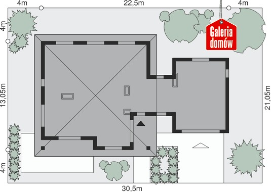 Dom przy Makowej 2 bis - wymiary na działce