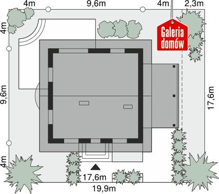 Dom przy Cyprysowej 20 P - wymiary na działce