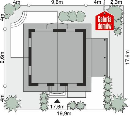 Dom przy Cyprysowej 12 P - wymiary na działce