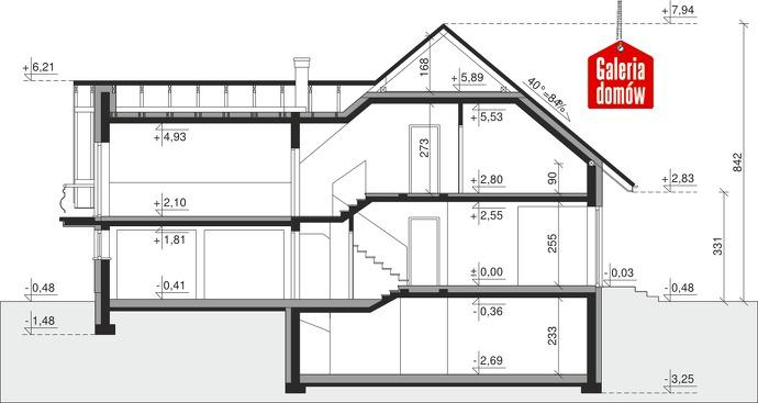 Dom przy Cyprysowej 15 P - przekrój