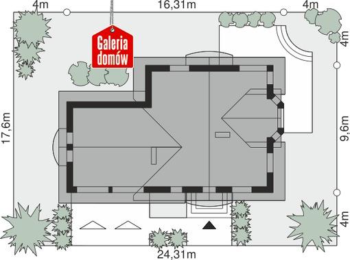 Dom przy Cyprysowej 15 P - wymiary na działce
