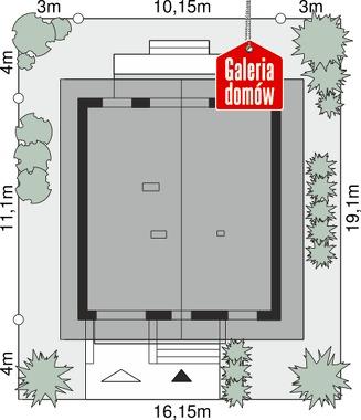 Dom przy Wiązowej 3 - wymiary na działce