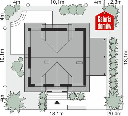 Dom przy Wiosennej 9 - wymiary na działce