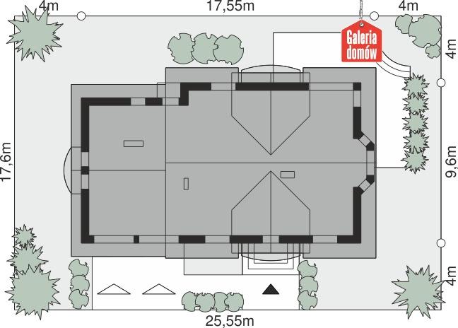 Dom przy Wiosennej 16 - wymiary na działce