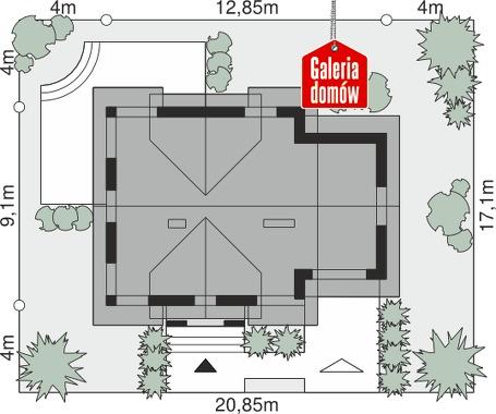 Dom przy Wiosennej 17 - wymiary na działce