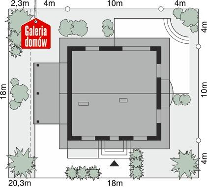 Dom przy Cyprysowej 52 - wymiary na działce