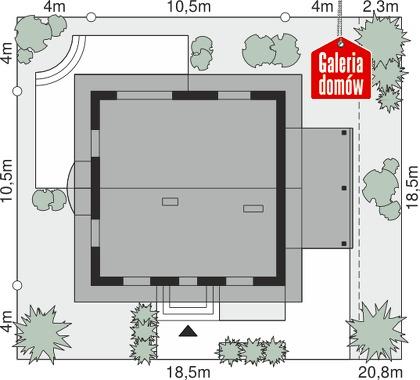 Dom przy Cyprysowej 53 - wymiary na działce