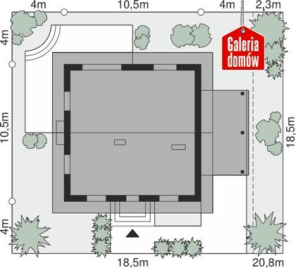 Dom przy Cyprysowej 53 N - wymiary na działce
