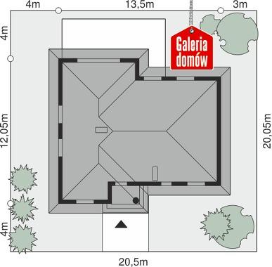 Dom przy Łabędziej - wymiary na działce
