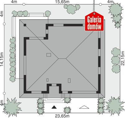 Dom przy Rubinowej 5 bis - wymiary na działce