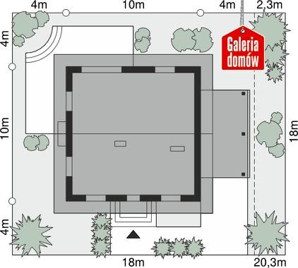 Dom przy Cyprysowej 52 N - wymiary na działce