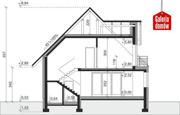 Dom przy Sielskiej 6 - przekrój