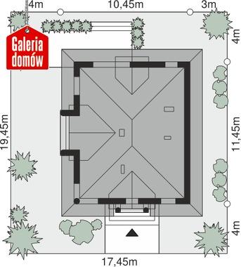 Dom przy Sielskiej 6 - wymiary na działce