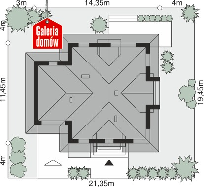 Dom przy Sielskiej 7 N - wymiary na działce