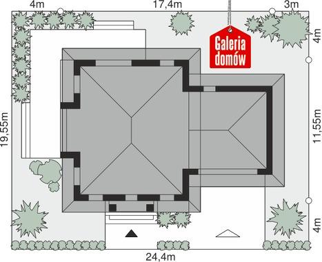 Dom przy Diamentowej - wymiary na działce