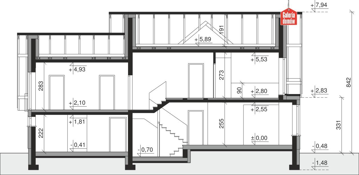 Dom przy Cyprysowej 15 DN2 - przekrój