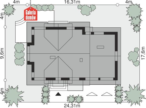 Dom przy Cyprysowej 15 DN2 - wymiary na działce