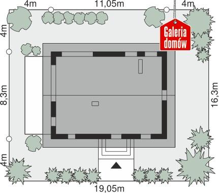 Dom przy Alabastrowej 39 - wymiary na działce