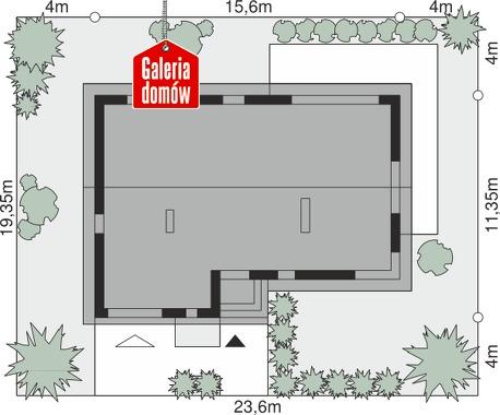Dom przy Przyjemnej 18 bis - wymiary na działce