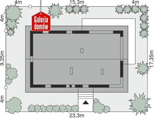 Dom przy Bukowej 9 - wymiary na działce