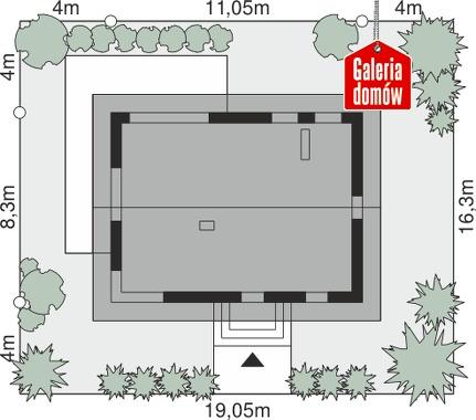 Dom przy Alabastrowej 40 - wymiary na działce