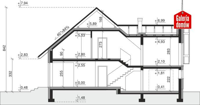 Dom przy Cyprysowej 14 K - przekrój