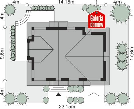 Dom przy Cyprysowej 14 K - wymiary na działce