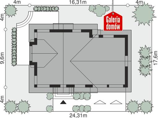 Dom przy Cyprysowej 15 K6 - wymiary na działce