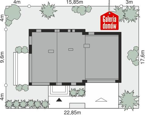 Dom przy Cyprysowej 15 S3 - wymiary na działce