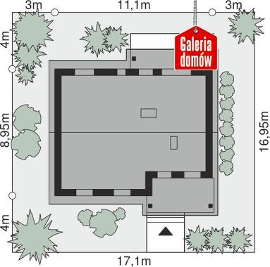 Dom przy Bukowej 10 - wymiary na działce