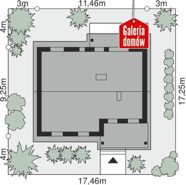 Dom przy Bukowej 11 - wymiary na działce
