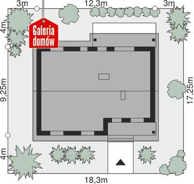 Dom przy Bukowej 12 - wymiary na działce
