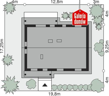 Dom przy Bukowej 14 - wymiary na działce