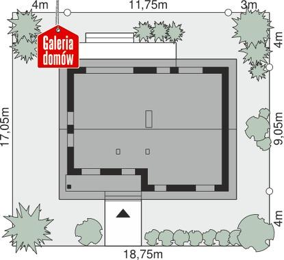 Dom przy Bukowej 15 - wymiary na działce