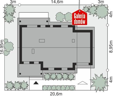 Dom przy Bukowej 16 - wymiary na działce