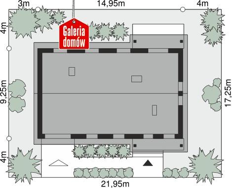 Dom przy Bukowej 17 - wymiary na działce