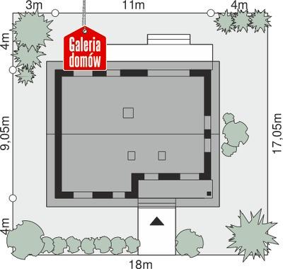 Dom przy Bukowej 18 - wymiary na działce