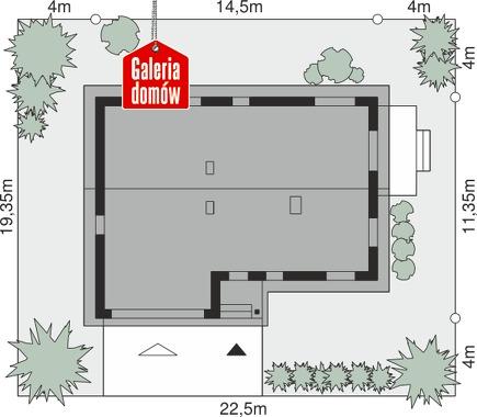 Dom przy Przyjemnej 19 bis - wymiary na działce